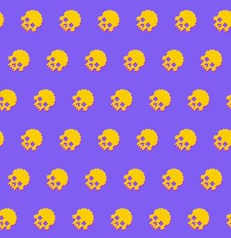 人間の頭蓋骨のシームレスパターン8ビットレトロなスタイル。