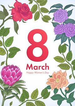 イラスト番号8と花の枝と葉を持つ女性の日のポスター