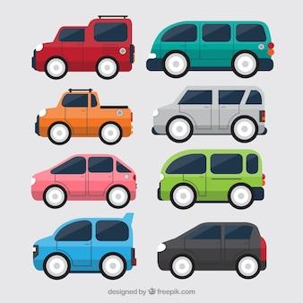 8つの平らな車の側面図
