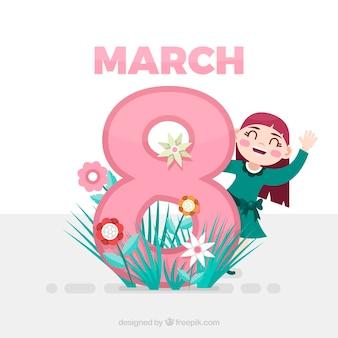 8 марта фон в плоском дизайне