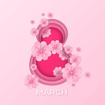 紙のスタイルでピンク8の女性の日