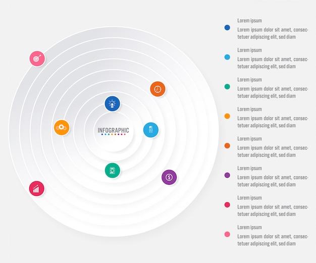 Бизнес инфографики шаблон с 8 вариантами