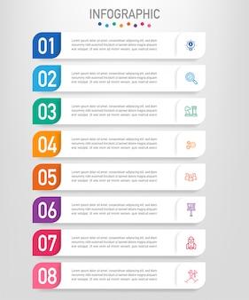 8つのオプションを持つビジネスインフォグラフィックラベルテンプレート