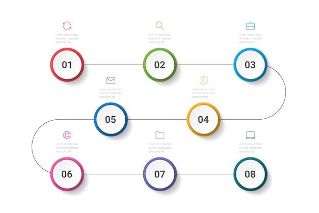 ビジネスプロセス。 8つのオプション、サークルのタイムラインインフォグラフィック。図。