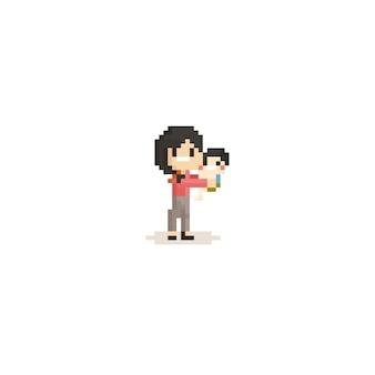 Пиксельная мама с ребенком. 8 бит.