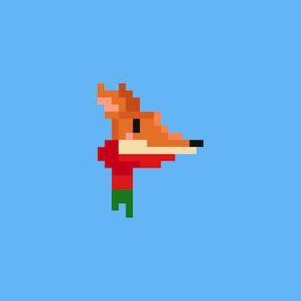 Пиксельная лисица с красным шарфом. кристалл 8 бит.