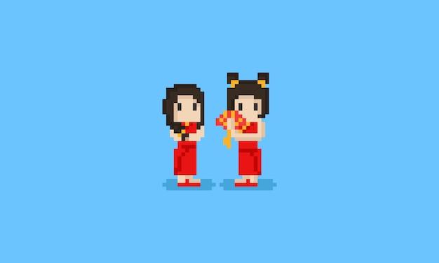 ピクセルの中国の女の子のキャラクター。中国の新年。8ビット。