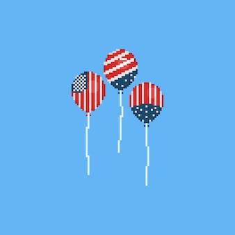 アメリカの国旗の色を持つピクセルバルーン。 8ビット