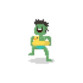アヒルの水泳リングを持つピクセル夏ゾンビキャラクター。 8ビット