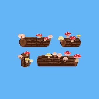 Пиксель арт пень с грибами набор. осень. 8 бит.