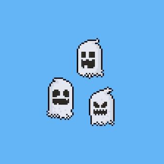 ピクセルアートゴーストキャラクターセット。 8ビット。ハロウィン。