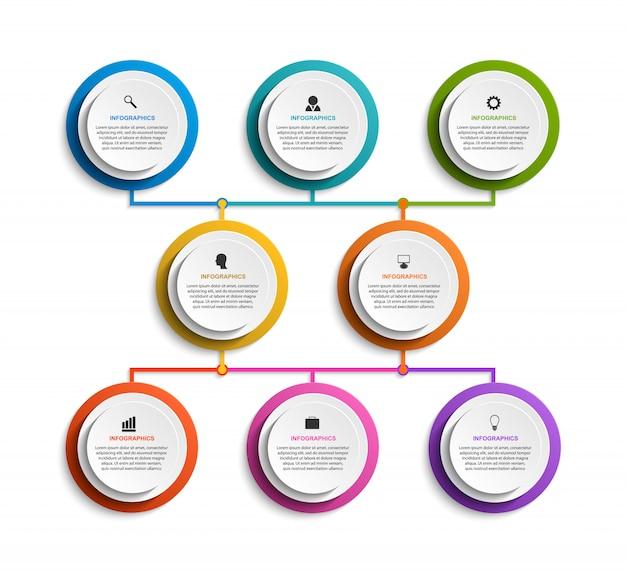 8つのオプションを持つインフォグラフィック組織図テンプレート