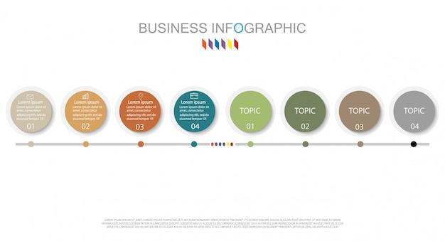 8オプションのビジネスコンセプト。コンテンツについては、インフォグラフィックダイアグラムデザイン
