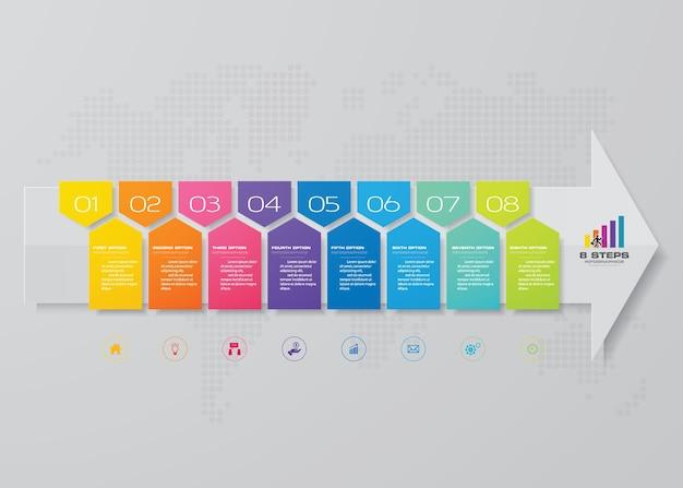 データ提示のための8つのステップの矢印テンプレート。