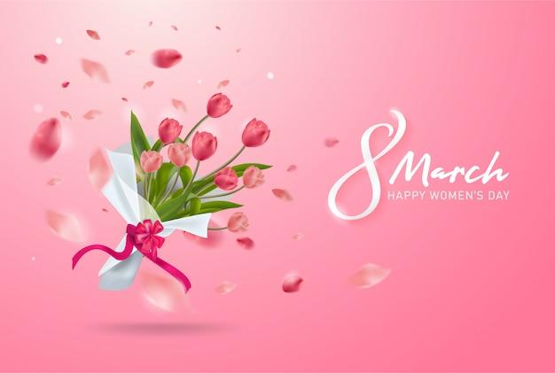 8 марта предыстория. международный счастливый женский день. реалистичный букет из тюльпанов.