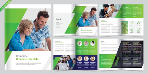 8ページの企業パンフレットテンプレート