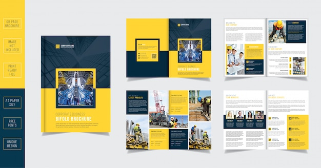 黄色の建設8ページパンフレットテンプレート