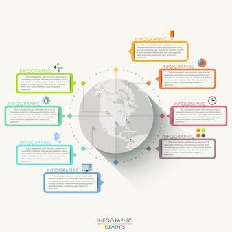Современная инфографика плоский глобальный шаблон на 8 вариантов