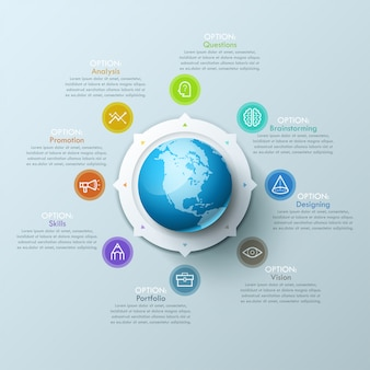 Красивая инфографика дизайн макет со сферой в центре, 8 стрелок, указывающих на символы линии и текстовые поля