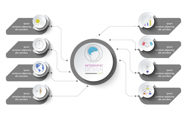 8つのステップを持つビジネスインフォグラフィック。
