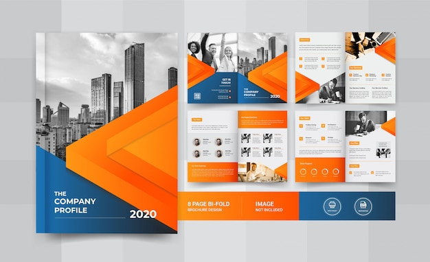Синий и желтый 8-страничный дизайн бизнес брошюры