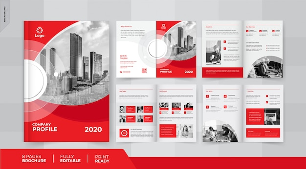 Красный 8 страниц дизайн бизнес брошюры