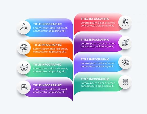 8つのステップのモダンなビジネスインフォグラフィック