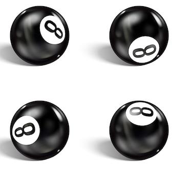 現実的な8ボールのセット。白で隔離