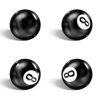 現実的な8ボールのセット。孤立した