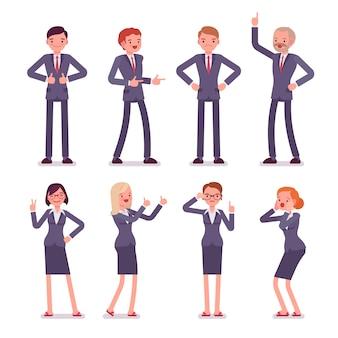 8つのビジネスの男性と女性のキャラクターのセット