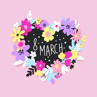 8 марта счастливая женская дневная поздравительная открытка с цветами и листьями в стиле сокращения бумаги.