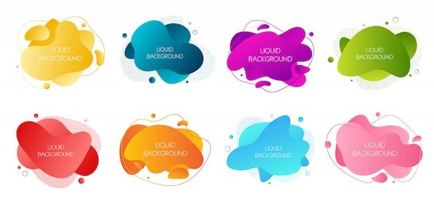 Набор из 8 абстрактных современных графических жидких элементов
