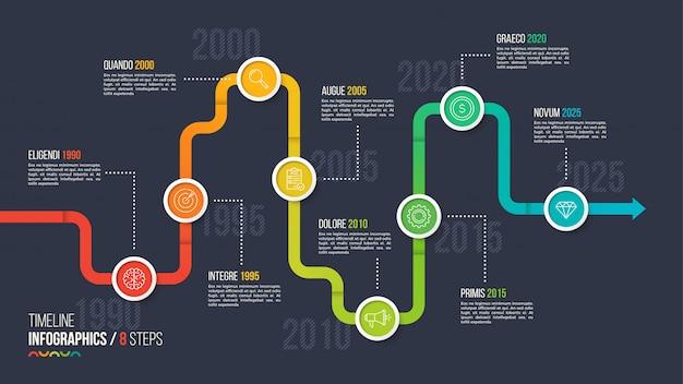 8つのステップのタイムラインまたはマイルストーンインフォグラフィックグラフ。