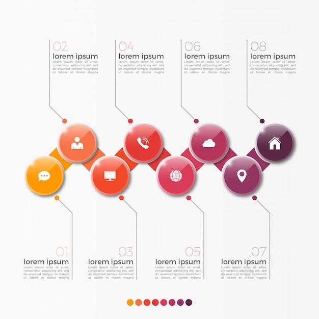 プレゼンテーションのサークルとベクトル8オプションインフォグラフィックテンプレート