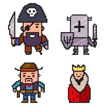 ピクセルアートの海賊、騎士、カウボーイ、女王。白い背景で隔離の8ビットゲームキャラクターセット。