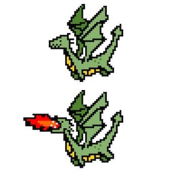 ピクセルアートドラゴン。白い背景で隔離の8ビットゲームのキャラクター。