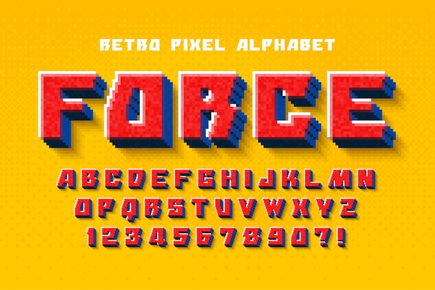 8-битный красочный алфавит с логотипом