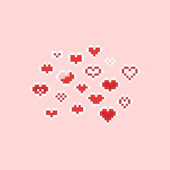 Пиксель арт 8bit мультфильм сердце значок набор