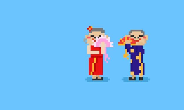 ピクセル笑顔漢字8bit。中国の旧正月