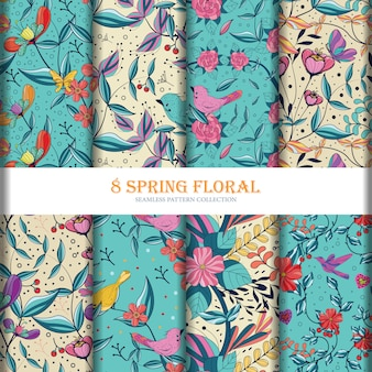 8floral flowers seamless pattern collection