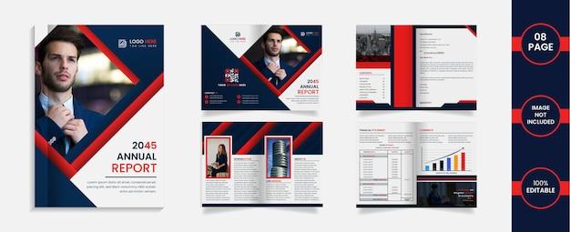 8-страничный дизайн брошюры, сложенный в два сложения, с абстрактными формами и информацией темно-синего и красного цветов.