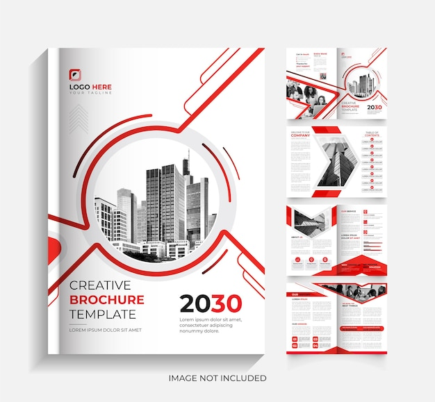 8page red and black corporate business brochure