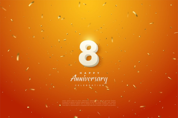 8th anniversary with numbers illustration on gold speckled orange background.