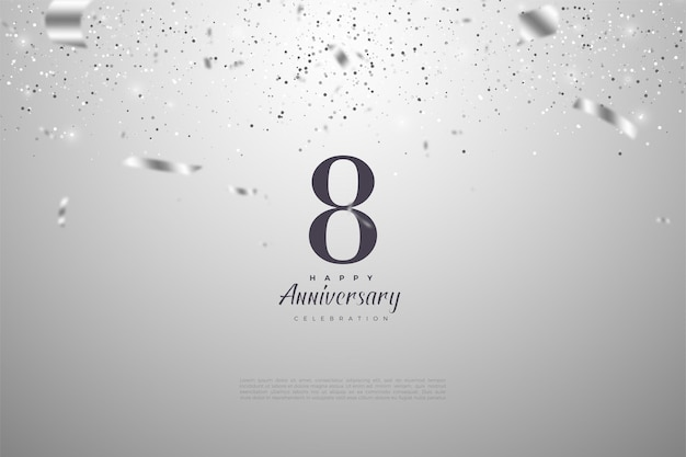 8-я годовщина с серебряными цифрами и лентой.