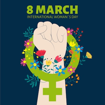 8th march fist holding a symbol for women power