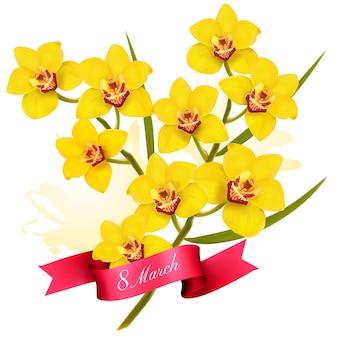 3월 8일 그림. 휴일 노란색 꽃 배경입니다.