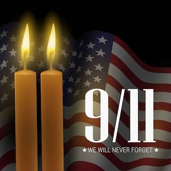 愛国者の日。私たちは決して忘れません。 9/11記念日。アメリカとキャンドルの旗とバナー