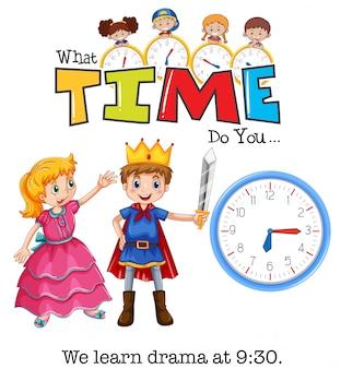 学生は9時30分にドラマを学ぶ