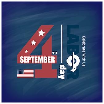 タイポグラフィーでアメリカの旗労働者の日9月4日米国の州アメリカの労働日のデザイン美しいアメリカの旗作戦労働者の日ポスターデザイン青い背景