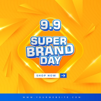 9 9 super brand day abstract background design and editable text